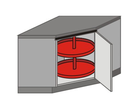 UH_DK-RB Base Cabinets with Lazy Susan