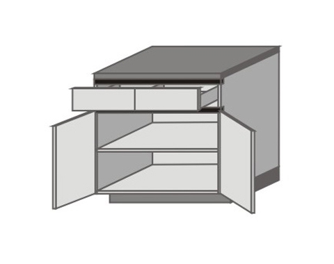 UH_D-ZYO Base Cabinets with Double Drawer and Door