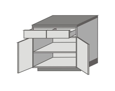 US_D-ZYO Base Cabinets with Double Drawer and Door