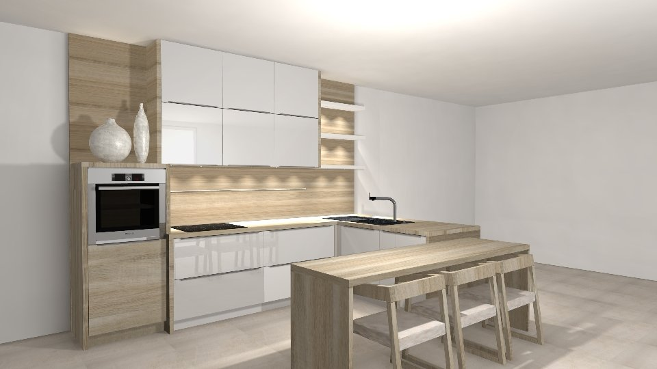 Kitchen Design with 3D rendering software