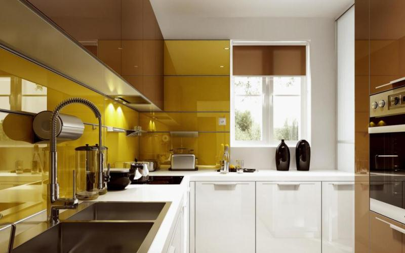 Kitchen with glass frame doors